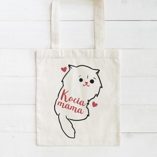 Tote bag mock up canvas fabric cloth shopping sack on white wood